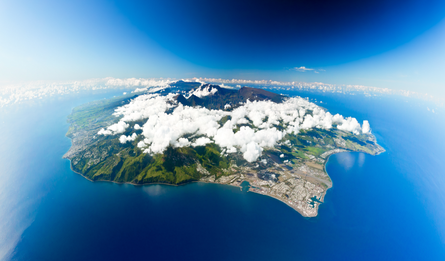 Reunion Island from high above